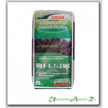 Fertilizant organic pentru gazon NPK 8-6-7+3 MgO DCM 25 Kg